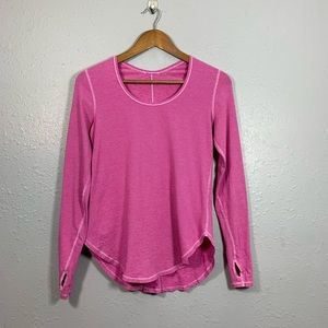 LULULEMON Pink Micro Stripe Long Sleeve Shirt 4-6